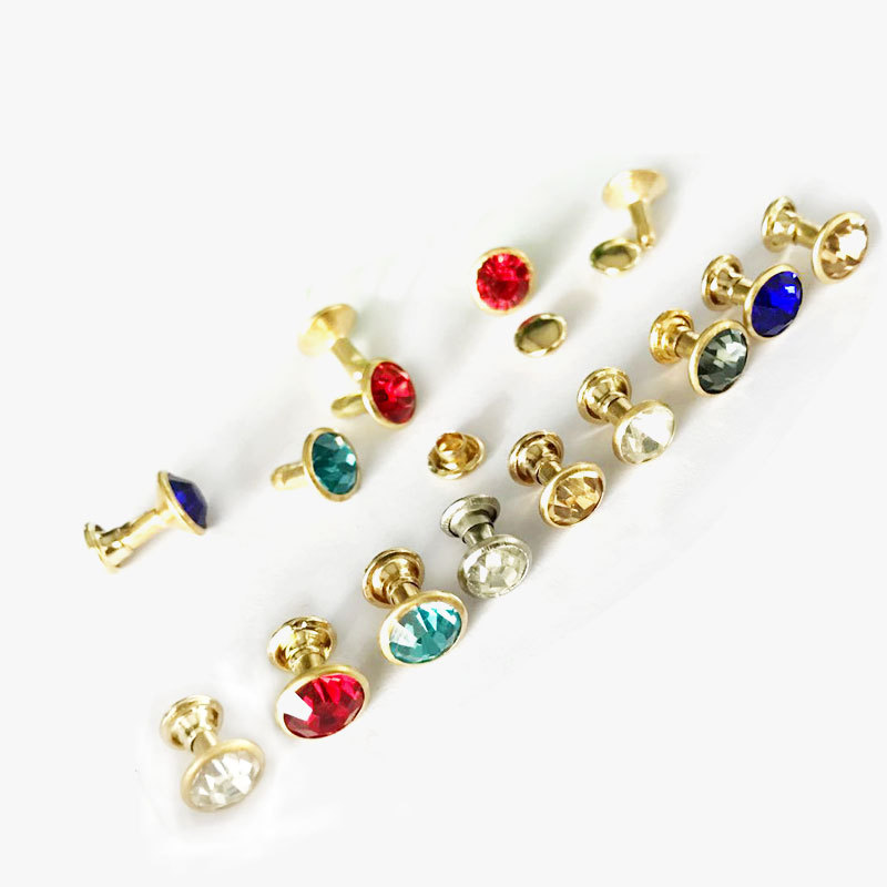 50Sets 8mm Color Crystal Rhinestone Decor Rivets Diamante Studs DIY Crafts Clothing Bag Leather Rebite Spikes Glass Drill Nail