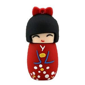 Image 3 - Karikatür USB Flash sürücü japon bebek Kimono kız kalem sürücü 4GB 8GB 16GB 32GB 64GB 128GB USB 2.0 Flash bellek sopa kalem sürücü