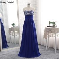 Ruby Bridal 2017 Luxury Long A Line Royal Blue Evening Dresses Chiffon Beaded Vestido De Festa