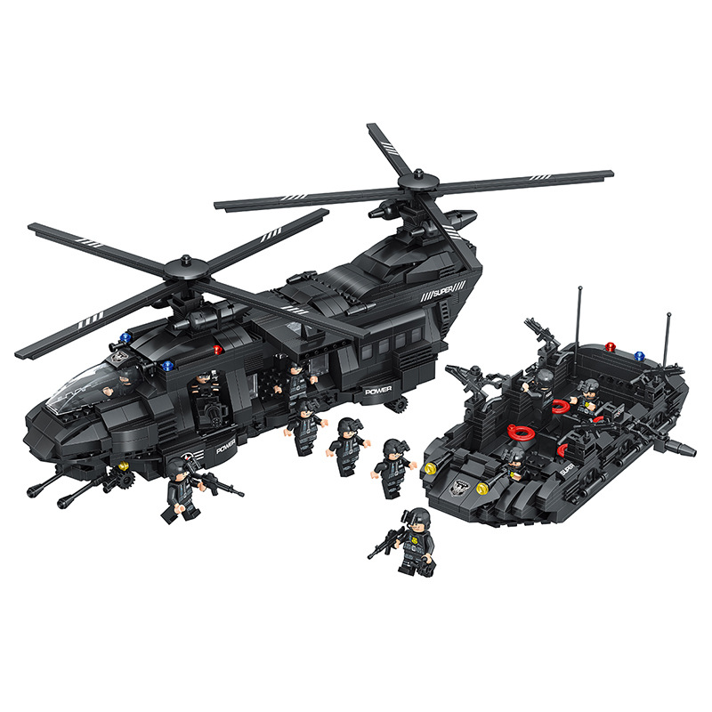 Military Army War special police force CH-47 Chinook helicopter Building Blocks Sets Bricks Model Kids Toys Compatible Legoe 8 in 1 military ship building blocks toys for boys
