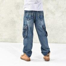 Vendita calda dei nuovi uomini di più i jeans di formato di modo allentato  Grandi tasche hip-hop dei jeans casuali dei pantaloni. 33423773d2a3