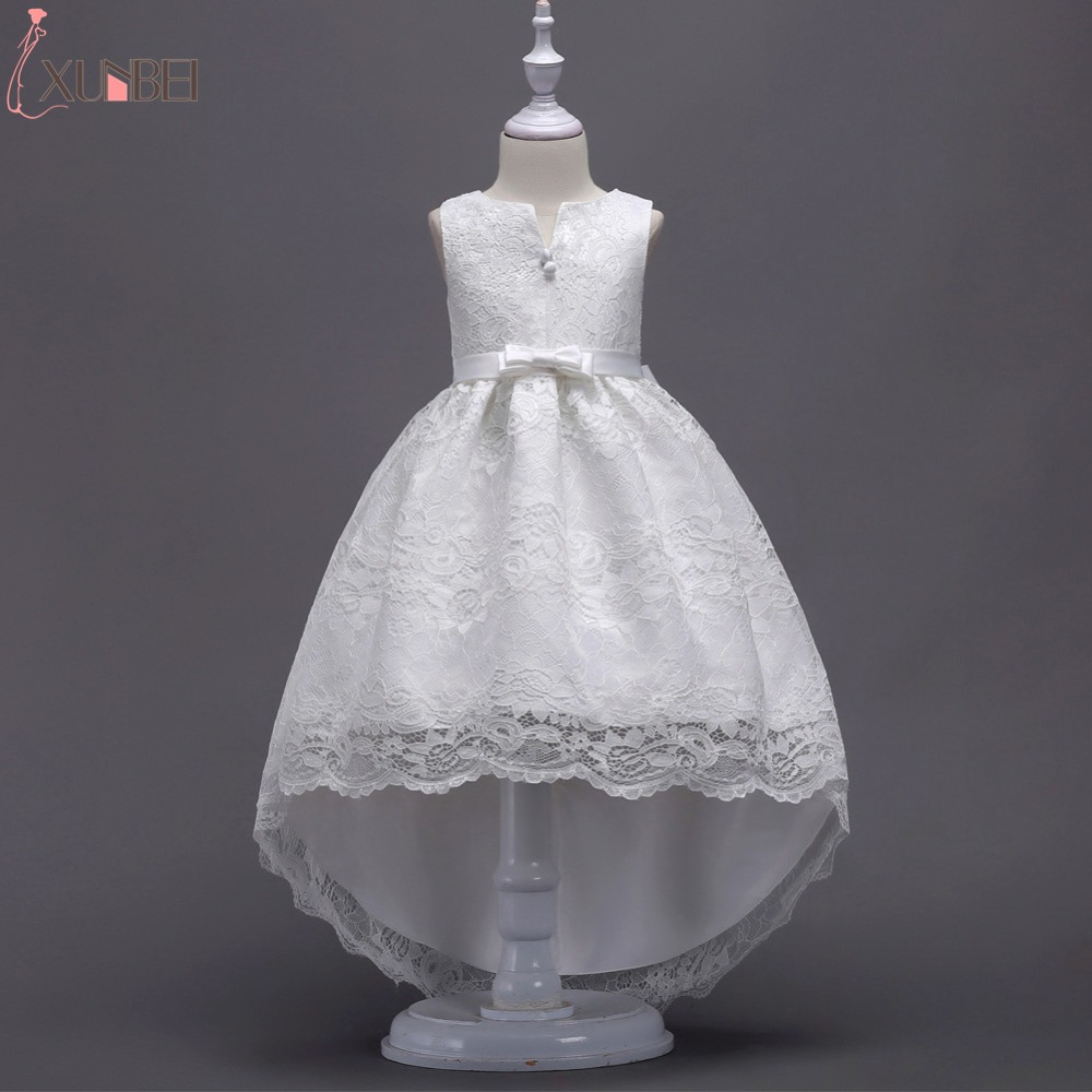Hot sale High Low Lace   Flower     Girl     Dresses   2019 5 Colors Communion   Dresses   For   Girls   Kids Prom   Dresses   vestido daminha