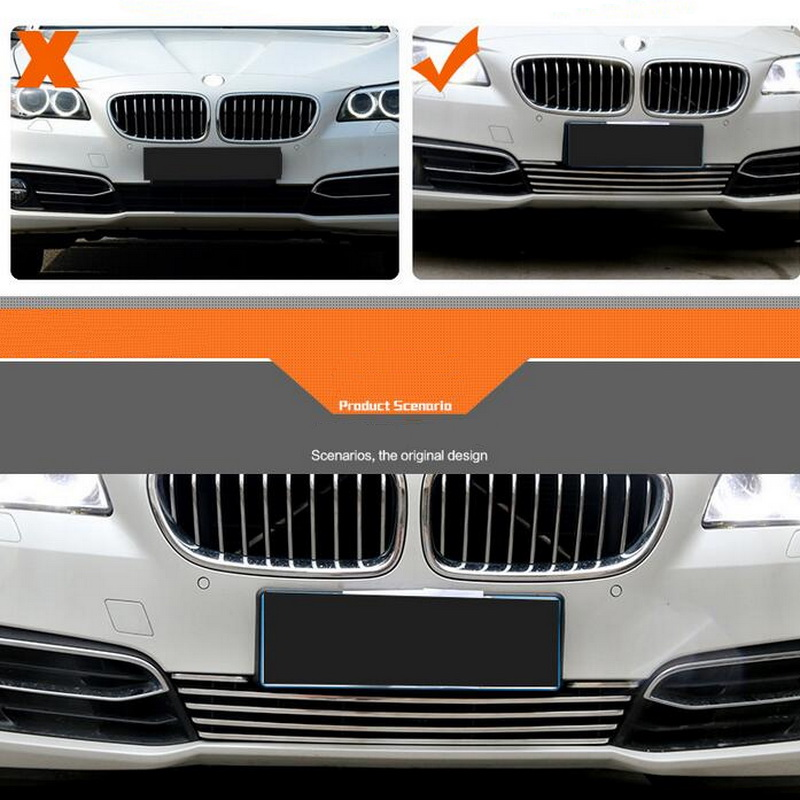 1 PCS Car DIY NEW Aluminum Front Face of Net Metal Grille Trim Cover Case Stickers for Bmw 5 Series 520 525 Li 2014 Accessories free shipping automobile label car stickers for great wall changcheng front windshield stickers for front window