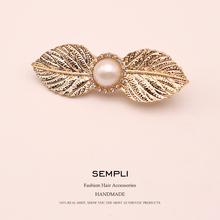 empli 2019 Fashion 1PC Women Leaf Hair Clip Alloy Pearl Geometry Hairpin Barrette Ornament Party Decoration Accessorie