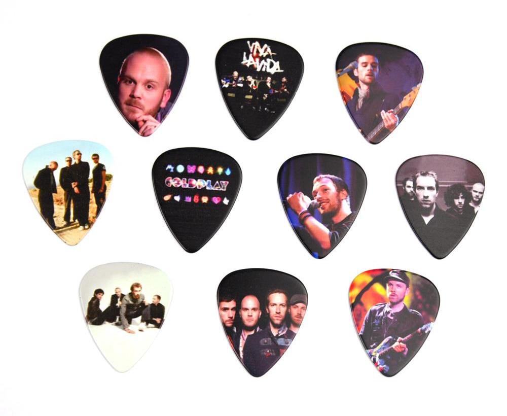 Lots of 10Pcs Rock Band Coldplay 2 sides printing Guitar Picks Plectrums Medium 0.71mm