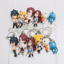 6pcs/set Fairy Tail Figure Model Natsu Happy Lucy Gray Elza Fairy Tail Toy pvc Action Figures toys pendants keyrings keychain(China)