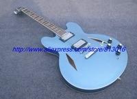 Blue hollow body jazz electric guitar musical instrument, chrome parts,no poickguard ,diamond hole ,own logo way!