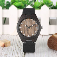 Handmade Wood Watch Quartz Analog Leather Band Black Sandalwood Watch Premium Wooden Watches Luminous Function montre homme