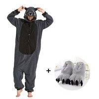 Large Size Kigurumi Pajamas For Adults Fleece Animal Onesies With Slippers Women Pyjamas Men Cosplay Costume Winter Sleepwear