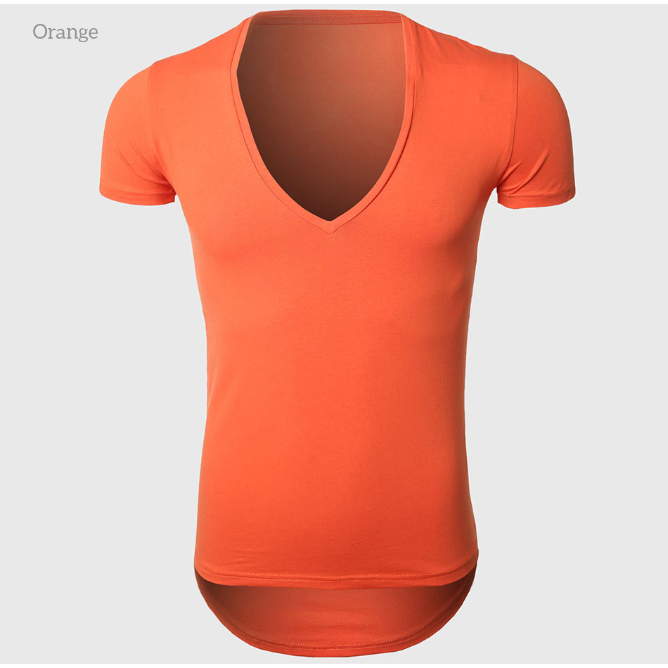 21 Colors Deep V Neck T-Shirt Men Fashion Compression Short Sleeve T Shirt Male Muscle Fitness Tight Summer Top Tees 33