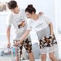 Любовь пижамы Установить Летние Женские Пижамы Хлопка С Коротким рукавом Пижамы Мужчин Пара Пижамы Установить