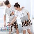 Amor sleepwear Conjunto Verão Das Mulheres Pijamas De Algodão Curto-de mangas compridas Pijamas Homens Casal Pijama Definido