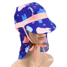 UV Protection Sun Protection Swim Hat Neck Protection Sun Hat for Children Kids(China)