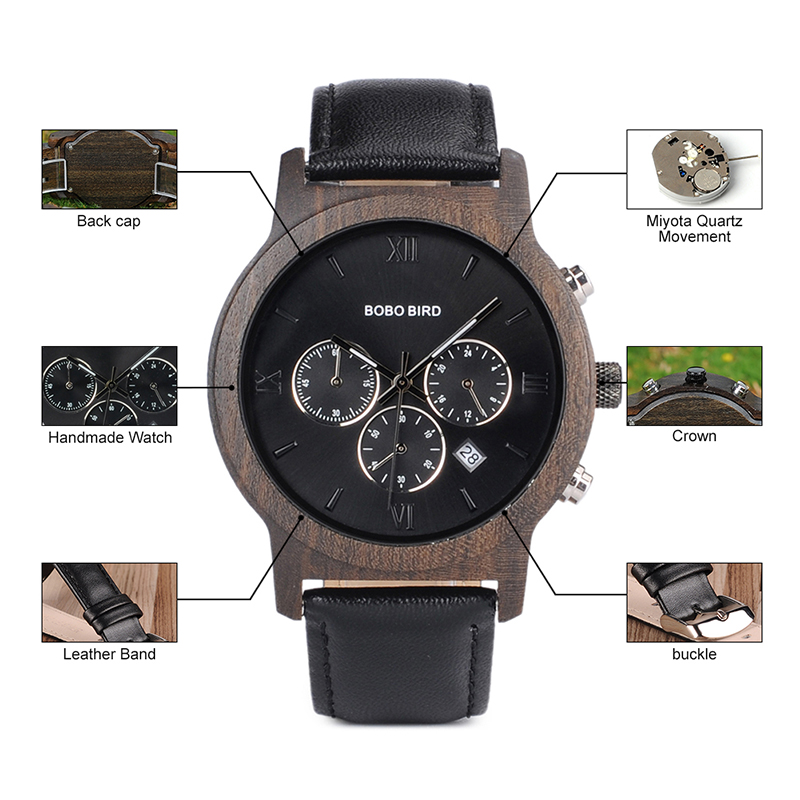 BOBO BIRD Mens Luxury Wood Watches Clock Functional Stop Chronograph saat with Date Display relogio masculino Timepieces C-P28 (10)