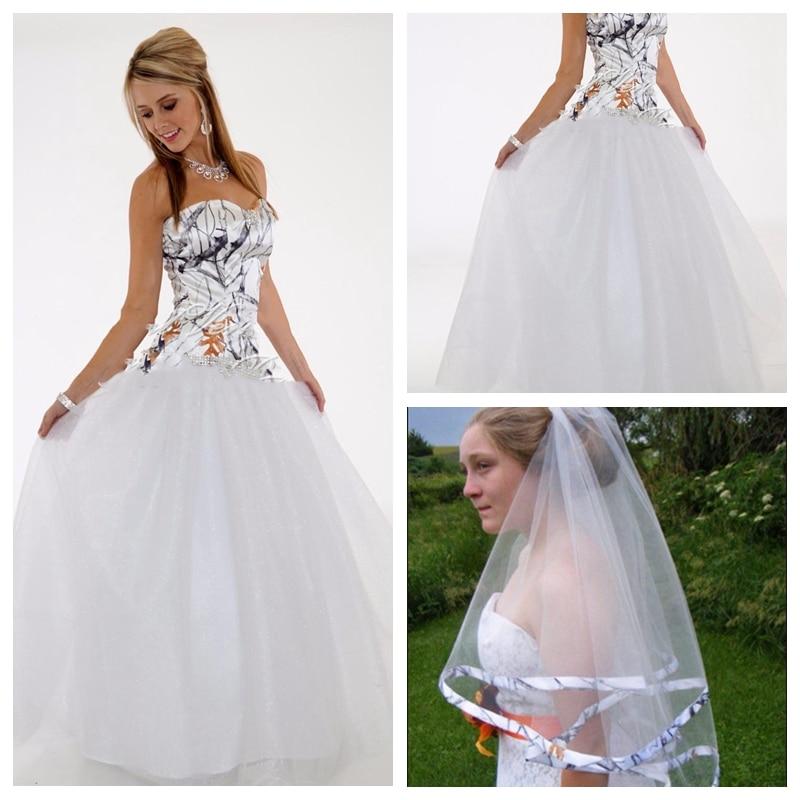 2019 Sweetheart White Camo Top A Line Wedding Dress