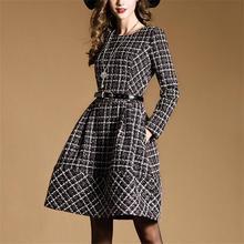 woman dress vestidos mujer 2016 boutique long sleeve woven grids slim fitness waist belt pleated winter dresses women 2016 free