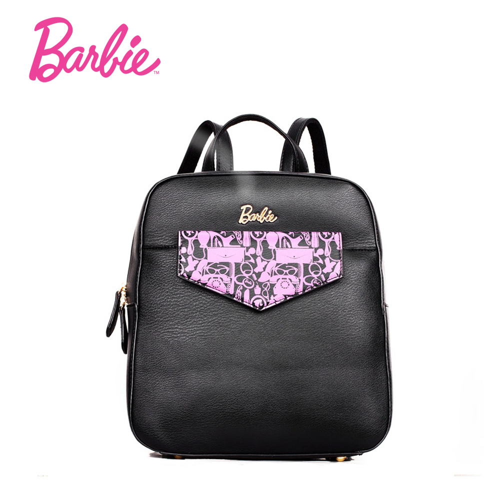 Barbie Popular Girls Backpack Black Pu Leather Fashionable Sweet Shoulder Bag With Large Capacity