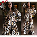 Mulheres Sexy Leopardo Sleepwear Robe, Comprimento Total Chiffon Sleepwear Vestido Longo Vestido, Frete Grátis Quarto Vestido Robe