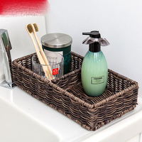 Imitation rattan storage basket desktop sink bathroom storage box bathroom waterproof vanity towel basket