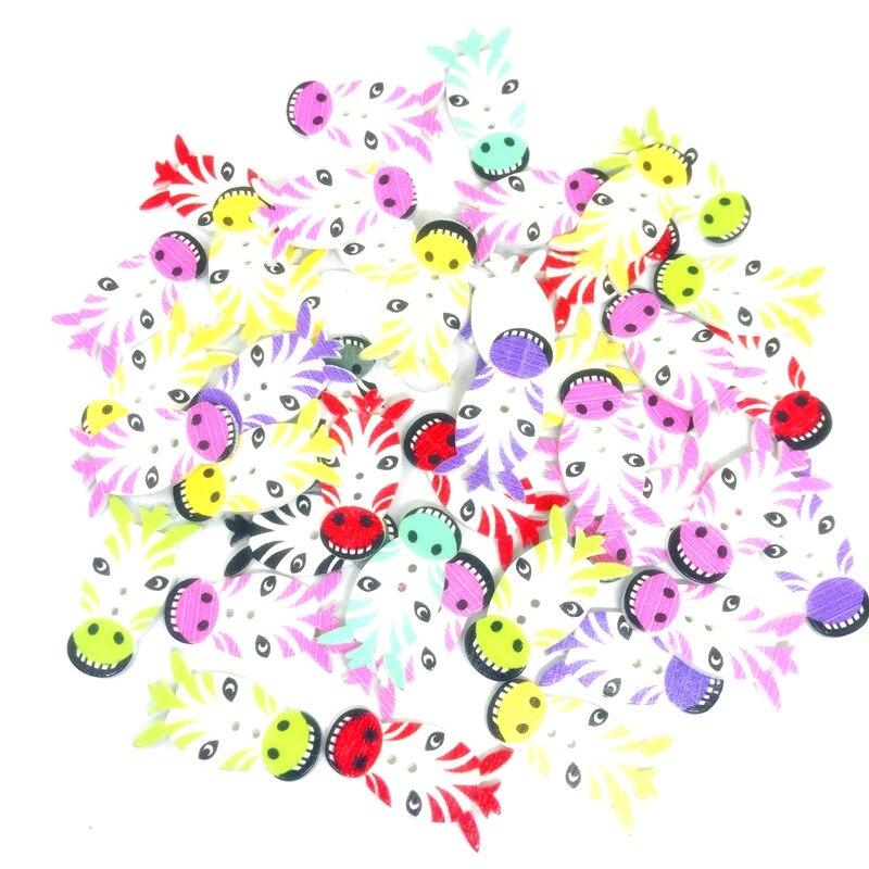 50 pièces couleur mixte boutons en bois Animal zèbre 2 trous décoratif bois bouton couture accessoires pour vêtements vêtements bricolage artisanat