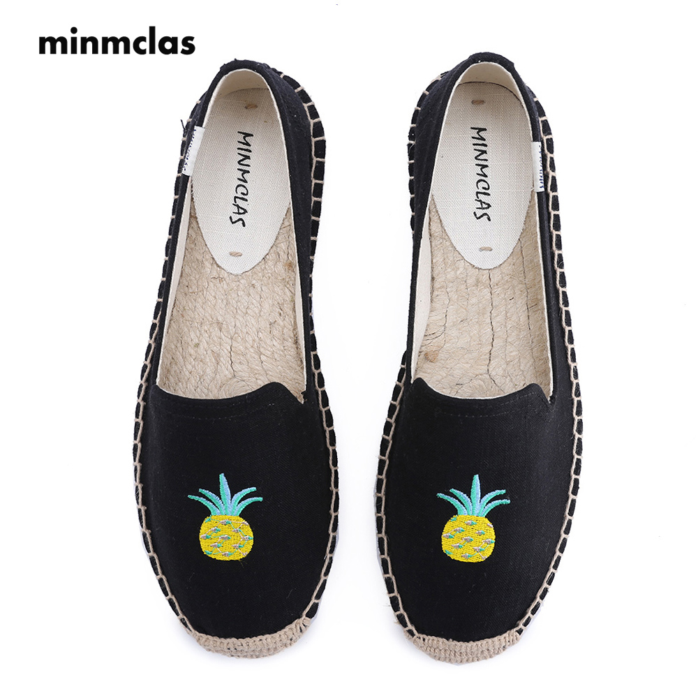MInmclas Slippers Pinapple Comfortable Blue Stripe Womens Casual Espadrilles Shoes Breathable Flax Hemp Canvas for Girl Shoes