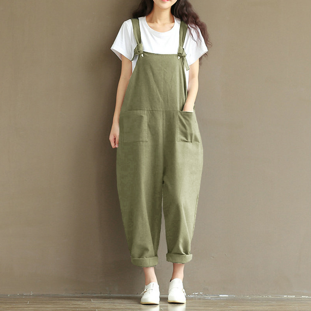 Rompers Womens   Jumpsuit   Vintage dungarees Pocket Casual Overalls Sleeveless Strapless Playsuits 3XL 4XL 5XL Plus Size Pantsuit