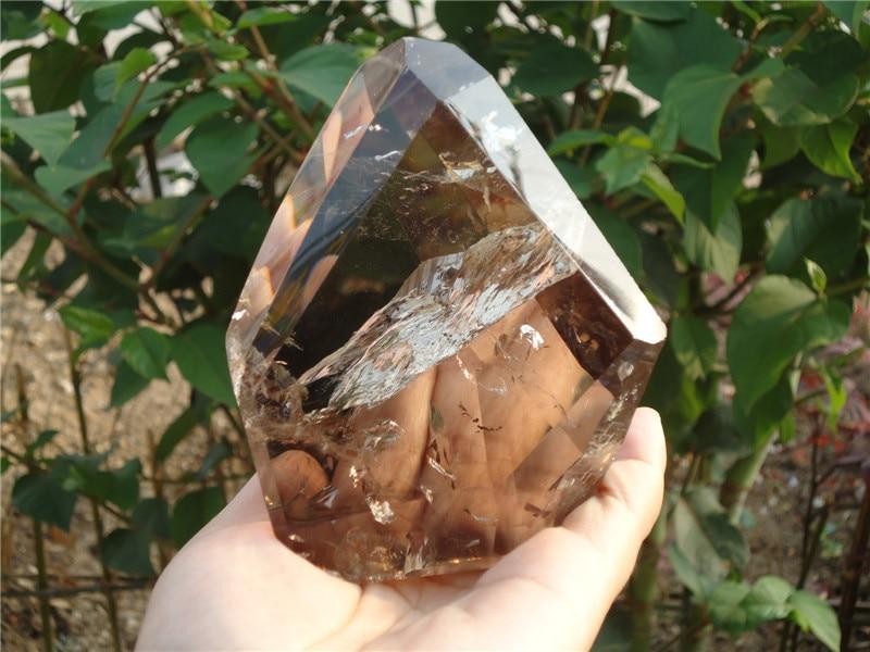 625g Natural Smoky Quartz  Stone with Rainbow Irregular Shape Hand Stone Fengshui Reiki Healing Home Decor top 572 natural smoky citrine quartz crystal point healin b2
