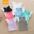 2016 niños del verano nuevos ropa infantil bebé lindo encaje de algodón de color puro camiseta 7 colores