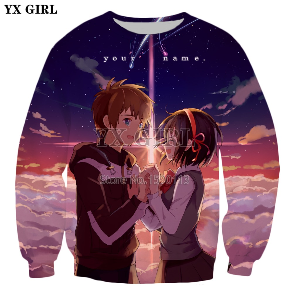 YX GIRL Drop shipping 2018 New Fashion Mens 3d Sweatshirt Anime your name Printed hoodies Harajuku Casual Pullovers