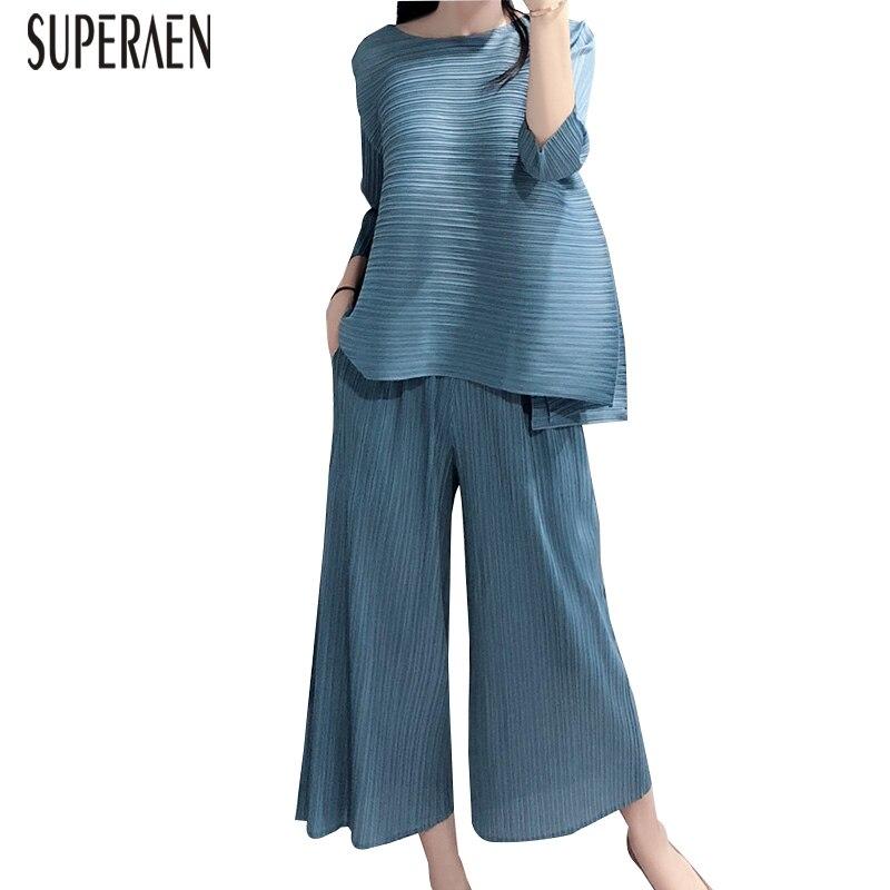 SuperAen 2019 الصيف جديد المرأة مجموعات فضفاضة Pluz حجم قمم الإناث أوروبا الأزياء عارضة البرية السراويل قطعتين الإناث-في مجموعات نسائية من ملابس نسائية على  مجموعة 1