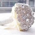 2017 Crystal Bridal Buque Noiva Accesorio Mano Que Sostiene la Flor Ramo de La Boda Ramo De Flores Broche de Novia de Alta calidad
