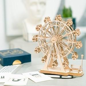 Image 2 - Robotime DIY 3D drewniane Puzzle zabawki montaż zabawki modele samolot Merry Go okrągły diabelski młyn zabawki dla dzieci Drop Shipping