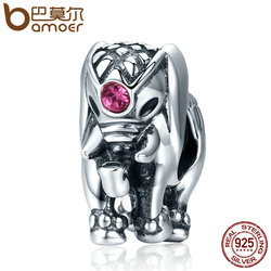 BAMOER New Arrival Genuine 100% 925 Sterling Silver Thailand Lucky Elephant Charms fit Women Bracelets Fine Jewelry SCC321