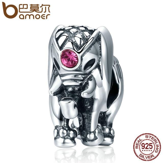 BAMOER Nuovo Arrivo Genuine 100% 925 Sterling Silver Thailandia Fortunato Elephant Fascini misura I Braccialetti Delle Donne Fine Jewelry SCC321