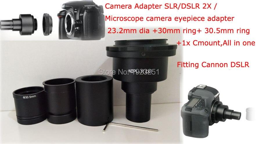 Best NDPL 2x Can non Microscope Camera Adapter SLR DSLR Microscope camera eyepiece adaptor 23 2mm