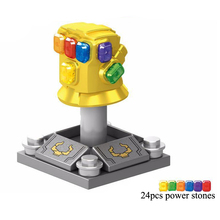 Super Heroe Marvel Avengers Infinity War Thanos Infinity Gauntlet With 24pcs Power stones Blocks Toys цена и фото