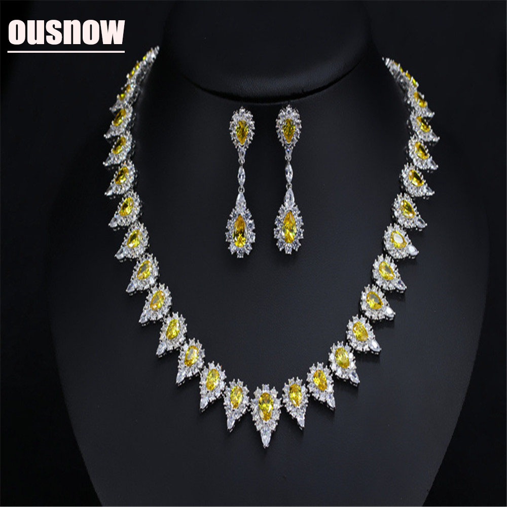 OUSNOW European and American fashion jewelry set AAA zircon micro-encrusted bridal wedding dress wild jewelry setOUSNOW European and American fashion jewelry set AAA zircon micro-encrusted bridal wedding dress wild jewelry set