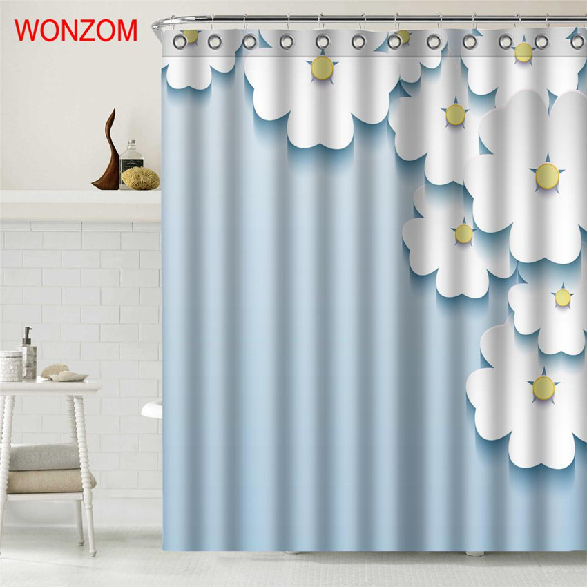 WONZOM Elegant Flower Polyester Fabric Rose Shower Curtain Bathroom Decor Waterproof Cortina De Bano With 12 Hooks Gift 2017