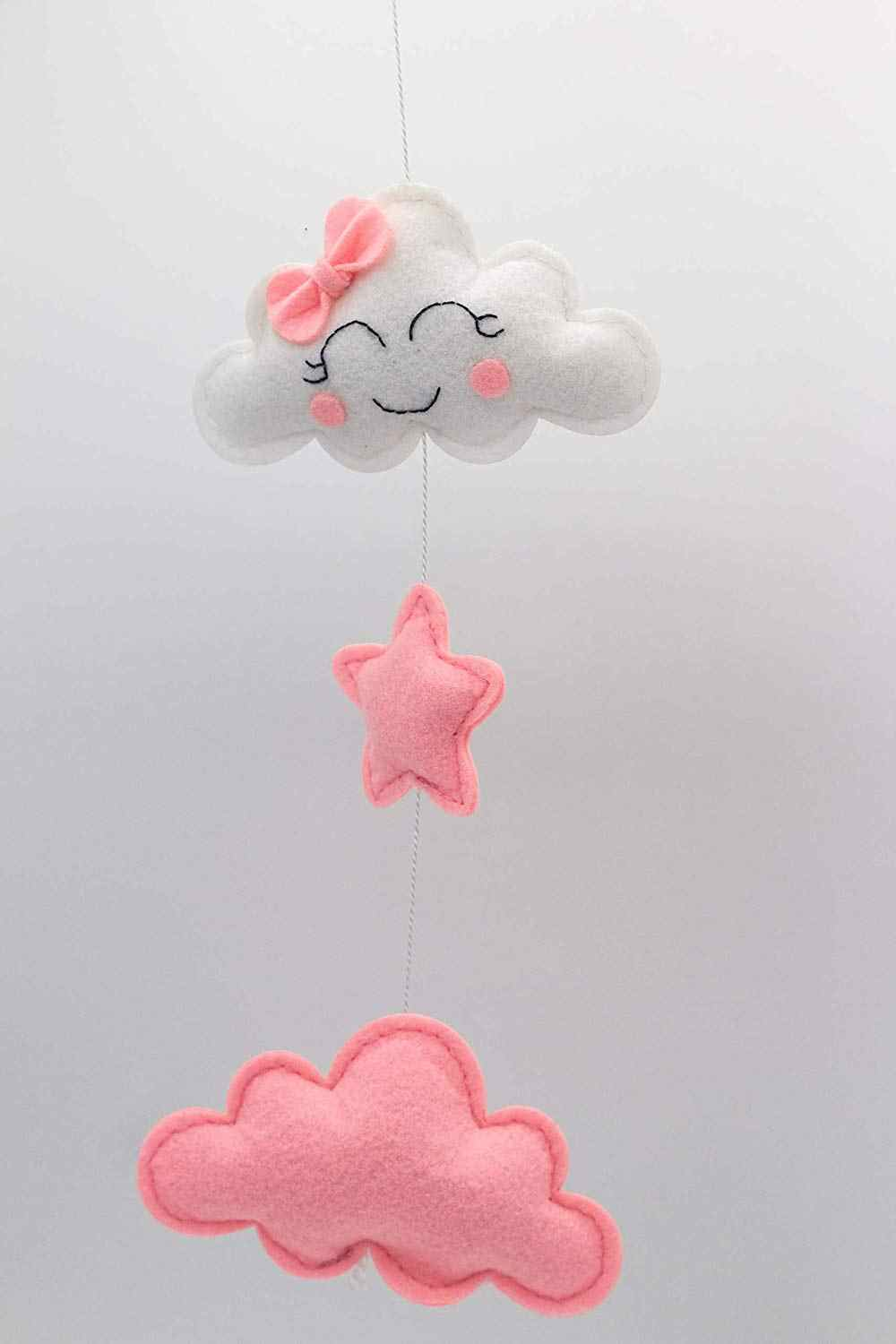 80044243d936d Baby Mobile for Crib Felt, Hanging Toys, Nursery Decor for Girls   White &  Pink Room Decorations, Clouds, Moons & Stars   Safe,