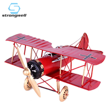 Strongwell Metal Handmade Iron Craft Biplane Model Home Decoration Antique Lmitation Retro Nostalgic Ornaments