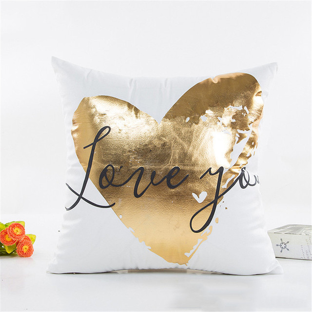 Luxury Geometry Gold Bronzing Pillow Cover Case Love Printed Pillows Cases Bedroom Home Office Decorative Throw Pillowcases