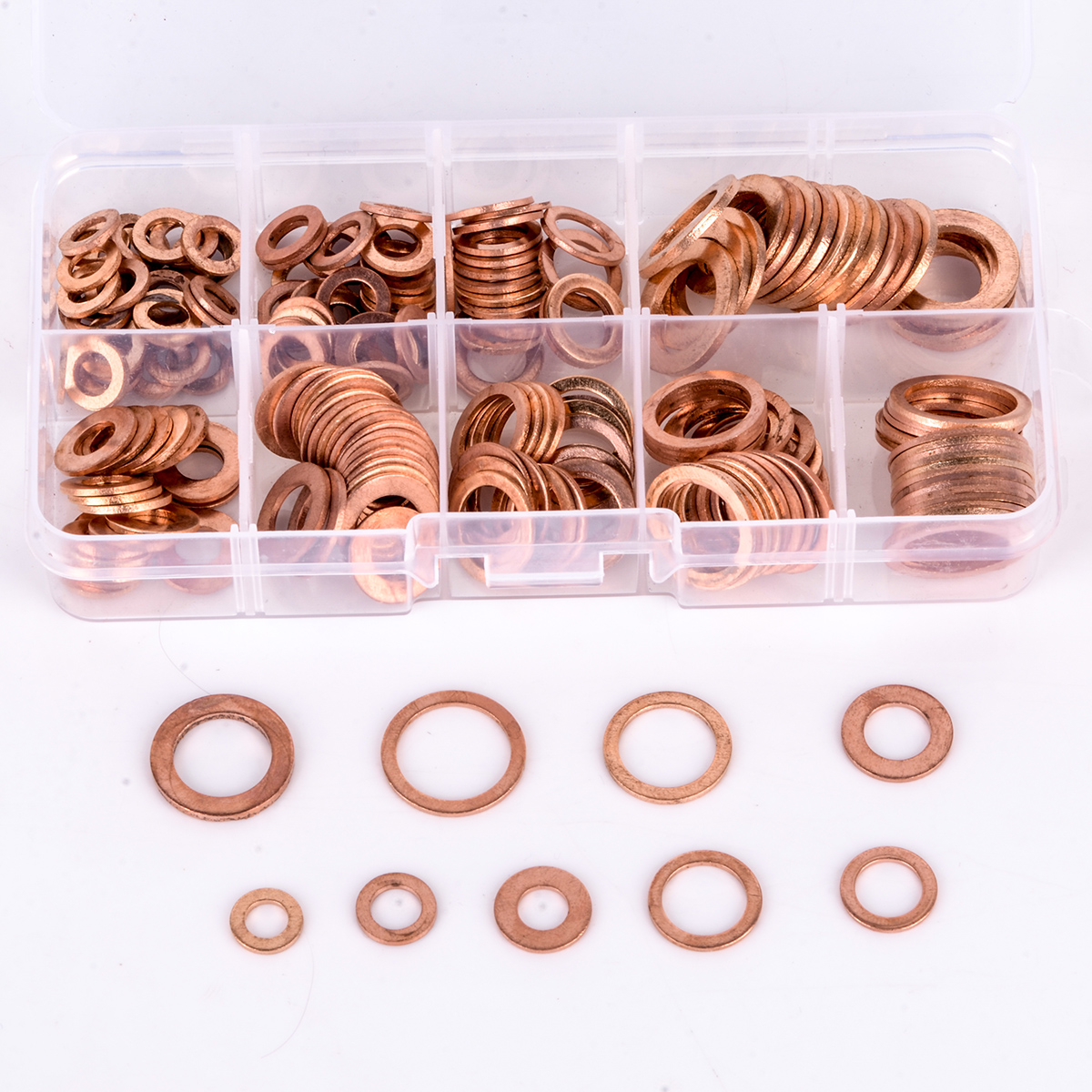 200pcs 9 Sizes Copper Washer Gasket Set Flat Ring Seal Kit Set with Plastic Box M5/M6/M8/M10/M12/M14 For Generators Machinery m6 m6 12 0 8 m6x12x0 8 m6 12 1 m6x12x1 din7603 insulation gasket shim crush ring seal red steel paper washer