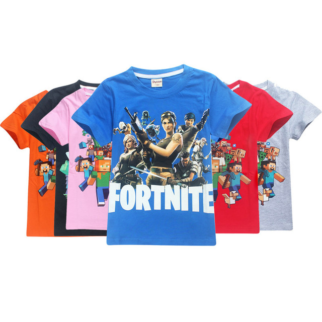 5607f27f roblox fortnite new 2018 summer pure cotton boys girls children top short  sleeve T shirts Minecraft cartoon pattern Moana