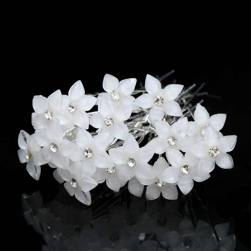 20 шт./компл. белые цветы шпилька для волос свадебные женские хрустальные цветы шпилька u-образный зажим для волос украшения для волос оптом