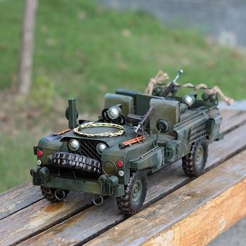 Big Retro Army War Chariot Car Model Art Collections Metal Miniatures Coffee Shop Decoration Bar Craft Home Decor