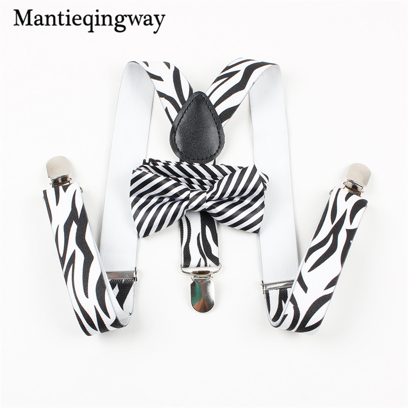 Mantieqingway Elastic Y-back Suspenders Bow Ties Set for Wedding Party Baby Boys Girls Adjustable 3 Clip-on Braces Belt Strap