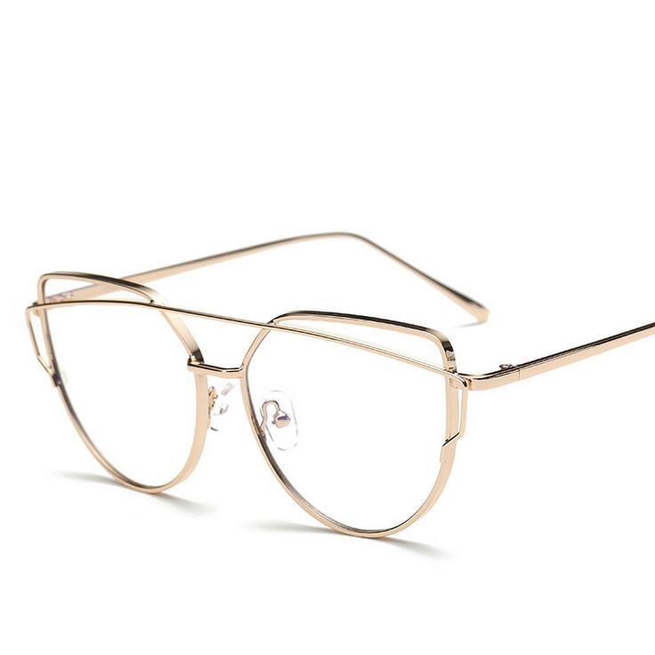 gold polygon metal frame eyeglasses clear lens