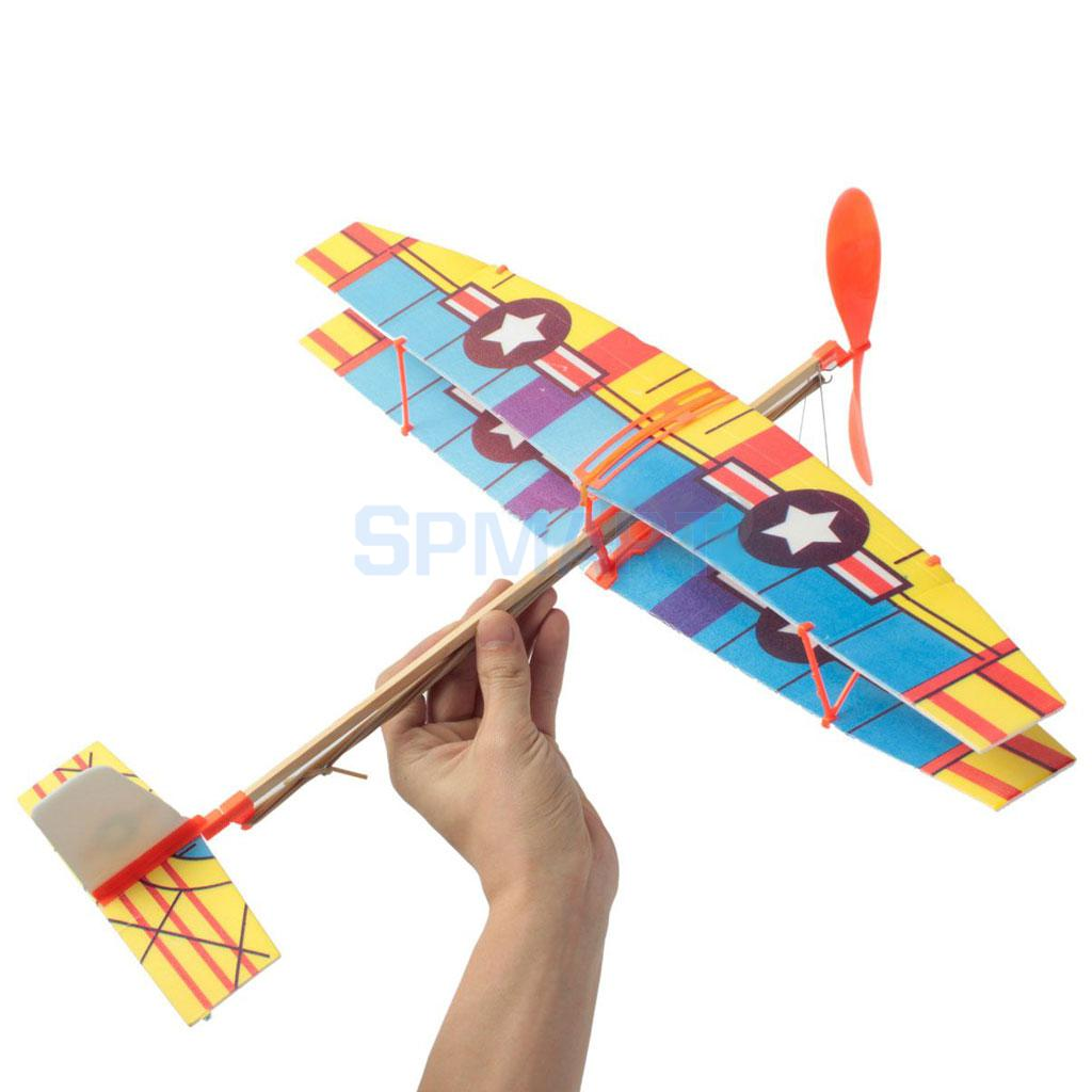 Assembly Airplane Aircraft Launched Powered By Rubber Band Blue & Yellow
