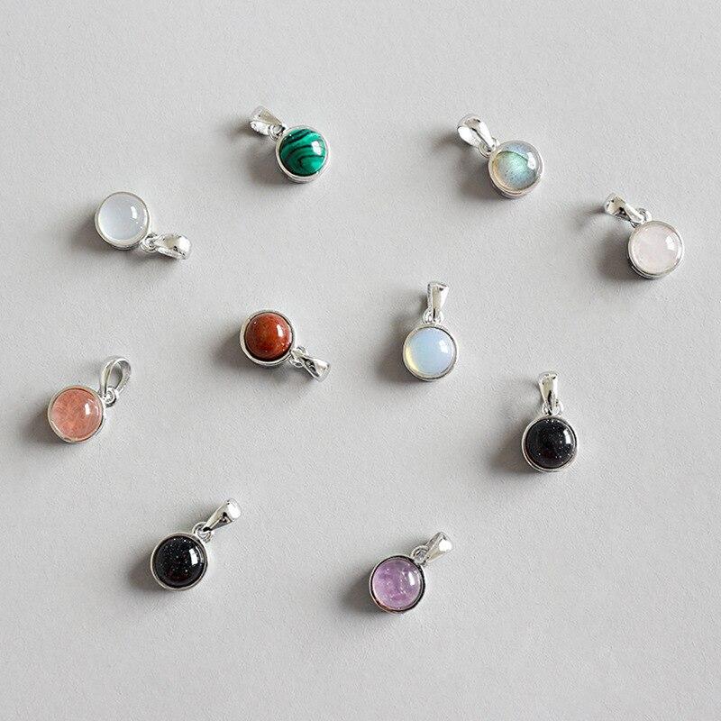 Ruifan 925 Sterling Silver Pendant&Necklaces Labradorite/Agate/Tigereye/Amethyst/Crystal Stone Necklace Women Jewelry YNC113