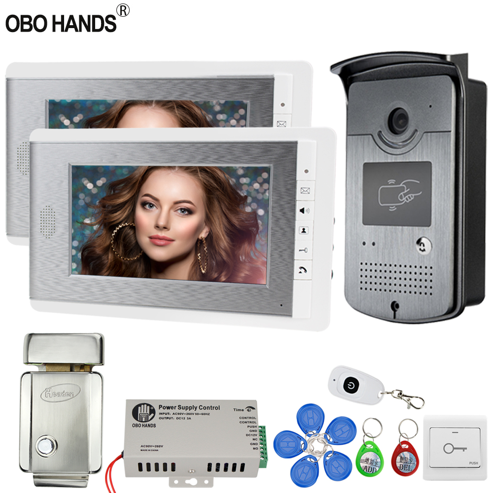 Us 139 98 15 Off Wired Home 7 Video Door Phone Intercom System Kit 2 Color Monitor Screens 1 Rfid Access Night Vision Camera With Electric Lock In